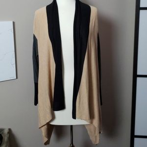 Colorblock open cardigan tunic